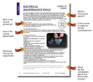 Electrical Maintenance Skills (Course 110) Description: Use the menu at the top left of the page to see the full description of this and other courses